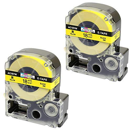2 Kassetten LC-5YBW LC-5YBW9 SC18YW schwarz auf gelb 18mm x 8m Schriftband kompatibel für Epson LabelWorks LW-300 LW-300L LW-400 LW-500 LW-600P LW-700 LW-900P LW-1000P Beschriftungsgerät