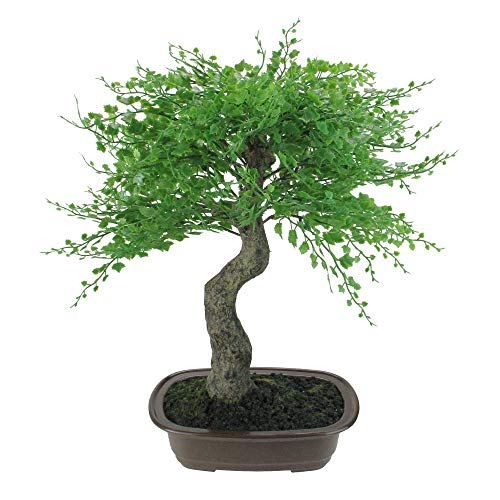 Northlight 16' Green Mini Maple Artificial Bonsai Tree in a Brown Pot