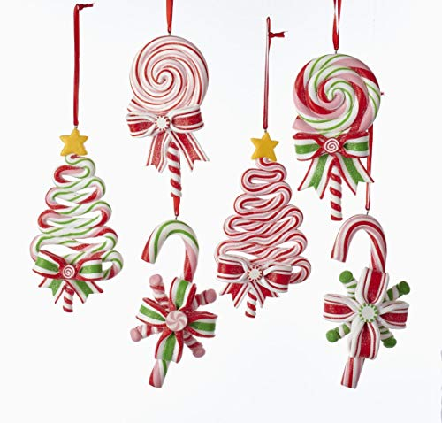 Kurt AdlerPEPPERMINT CANDY LOLLIPOP ORNAMENT - 6 ASSORTED: 2 EACH CHRISTMAS TREE, CANDY CANE AND ROUND LOLLIPOP