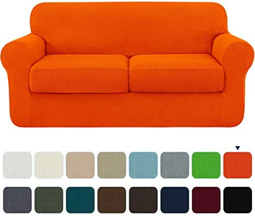 Best subrtex High Stretch Jacquard Loveseat Slipcover with 2 Separate Cushion Common Couch Sofa Cover Coa