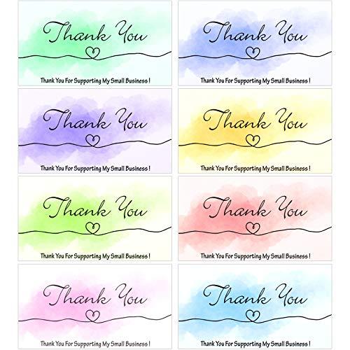 200 Tarjetas de Agradecimiento de Acuarela Tarjetas de Thank You de Navidad for Supporting My Small Business Tarjeta Nota Felicitación Postales Inserto Paquete de Pequeñas Empresas en Línea