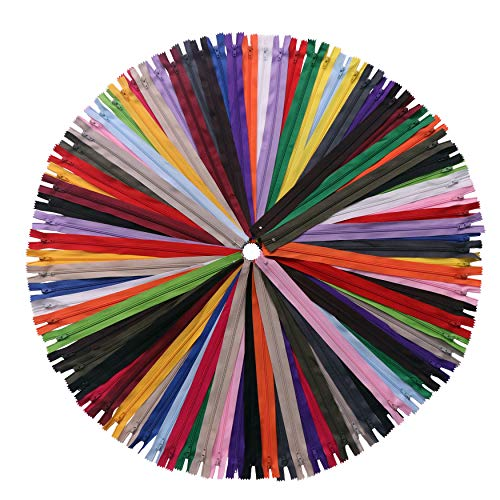 YAKA 60 Pack of 9 inch Mix Nylon Coil Zippers Bulk - Supplies Zippers for Tailor Sewing Crafts (20 Color) 9 inch-Pack of 60pcs