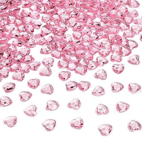 HAKACC Herzen Diamantkristalle, 1000 Stück 12mm Rosa Streudeko Herzen Deko Diamanten Herz Deko für Hochzeit