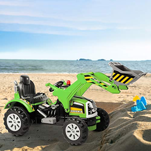 HOMFY Kids Ride On Excavator 12V Powered Electric Truck Car with Front Loader and Digger Bucket for Ages 3-8, High/Low Speed (Green)