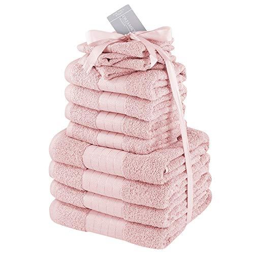 Brentfords Luxuriöses Handtücher-Set aus 100 {c6b2a43a7b22624d229563ced4ed63ec7a08eb18a8b1bd8c92ad59027936b229} Baumwolle, groß, weich, für Bad, Gesicht, 12 Stück, Blush Pink Heather