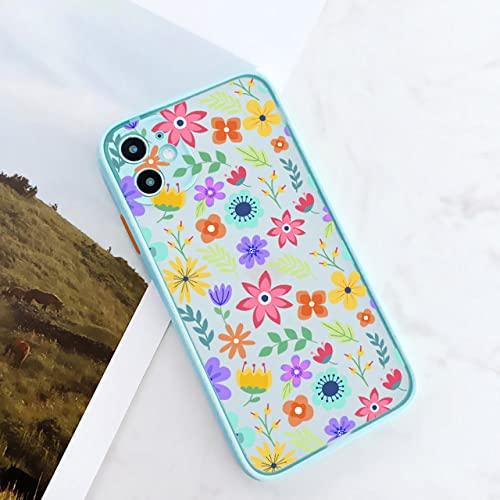 Fashion Cute Flower Phone Case para iPhone 12 11 Pro MAX 6s 7 8 Plus X XR XS MAX SE2020 Carcasa Trasera Translúcida Suave Coque, Menta Floral 2 R, para iPhone X