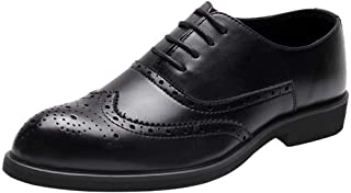 PengCheng Pang Retro Oxfords for Men Dress Shoes Lace up Microfiber Leather Pointed Toe Brogue Carving Low Block Heel Stitched Breathable (Color : Black, Size : 8.5 UK)