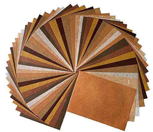 RATREE SHOP 60 Blatt gemischt Braun 21,6 x 30,5 cm Maulbeerpapier Design Handarbeit Kunst Seidenpapier Japan Origami Washi Großhandel Unryu Lieferanten Thailand Produkte Kartenherstellung (N001)