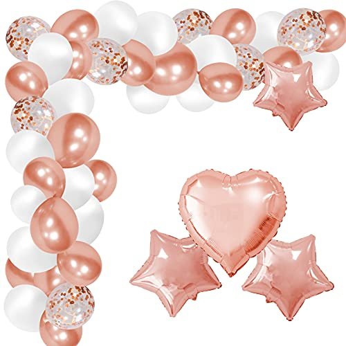 Palloncini Rosa Gold, 123 Pezzi Palloncini Oro Rosa, Kit di Palloncini con Arco per Palloncini, Palloncini con Coriandoli per Matrimonio, Baby Shower, Laurea, San Valentino, Party Decorazioni