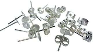 (5mm) - 100 Lot Stainless Steel Silver Tone Flat Base Pad Earring Make DIY with Posts Studs Back Blank Findings (5mm)