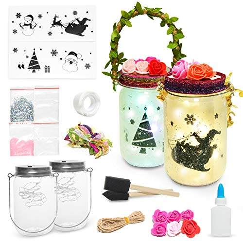 Rocinha DIY Lantern Craft Kit (2 Pack), Night Lights Craft Projects Arts and Crafts Make Your Own Christmas Birthday Gifts Nightlight Craft Kit