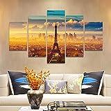 YuanMinglu Carteles y Grabados con Vistas a la Torre Eiffel en París Lienzo de Acuarela Arte Pop Cuadros de la Pared Decoraciones para el hogar sin Marco 20x30cmx2 20x40cmx2 20x50cmx1