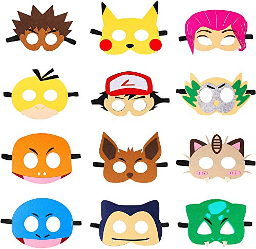 BESLIME Pikachu Masks - 12Pcs Dress Up Costumes Pikachu Halloween Birthday Party Favors Anime Cartoon Video Game Party Supplies for Boys Girls