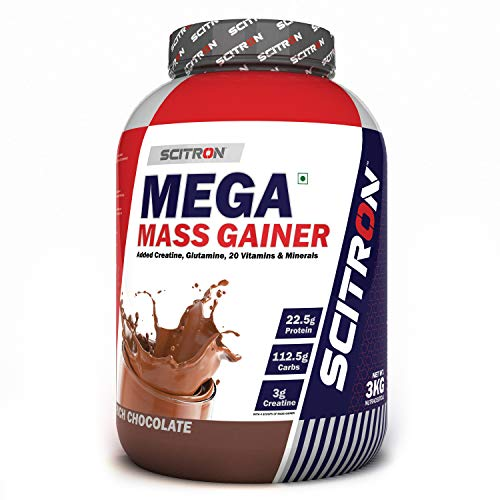 Scitron Mega Mass Gainer (3g Creatine, 112.5g Carbs, 22.5g Protein in every 4 Scoops) – 6.6lbs (3kg) (Rich Chocolate)