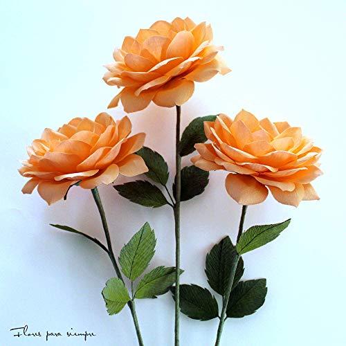 Rosas de jardín de papel crepé color salmón claro