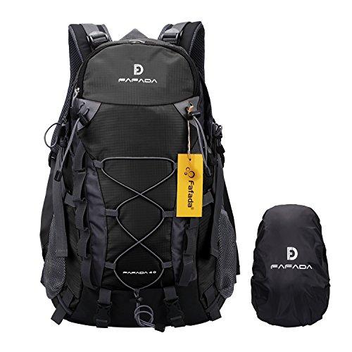 Fafada 40L Impermeabile Zaini da Escursionismo Zaino di Campeggio Viaggi Hiking Trekking Camping Backpack Nero