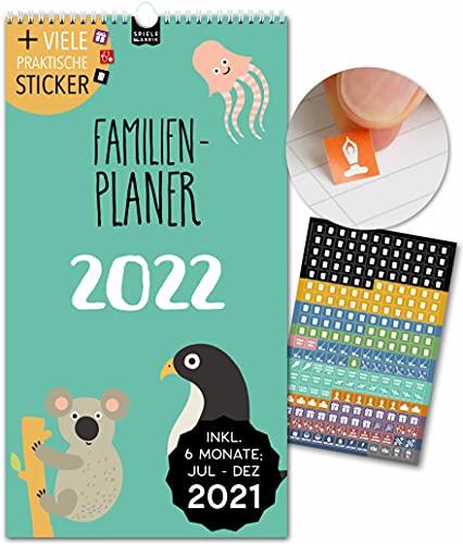Spielefabrik Familienplaner Kalender 2021 2022 Wandkalender 23x43cm Familienkalender 2022 mit 5 Spalten Familienplaner 2021 2022 von Juli 21 - Dez 22 Mit Stickern, Tasche, Ferien KIDS