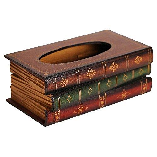 Caja de panuelos - SODIAL(R) Caja de panuelos de forma de libro de estilo retro