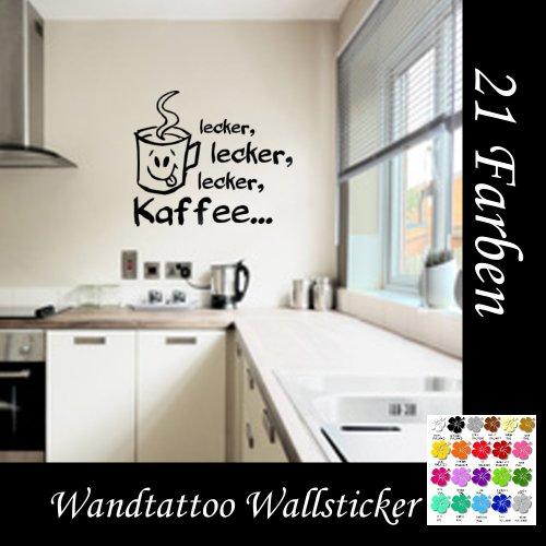 Wandtattoo Küche Lecker,lecker Kaffee Größe 60cm Breite x 40 cm Höhe in 21 Farbe auswählbar