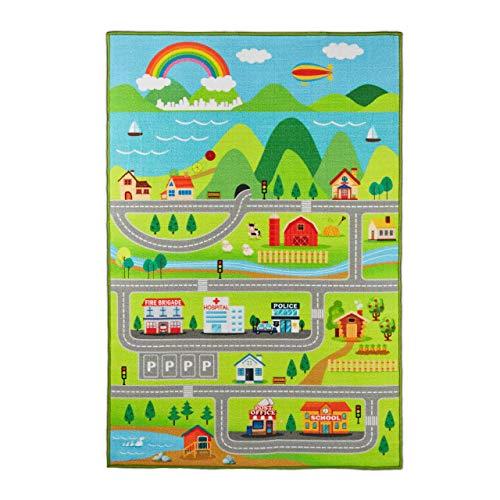 Relaxdays 10032683 Tappeto per Bambini, Città & Strade, Atossico, Tappetino Gioco, Antiscivolo, Cameretta, 100x150, Multicolore, 1 pz