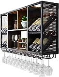 Exempté Wine Rack Storage monté en rack Stemware Support mural Décor Armoires à vin for la cuisine, salle à manger, bar ou vin Cave Fer Noir Cadre (Color : Black, Size : 120x60x25cm)