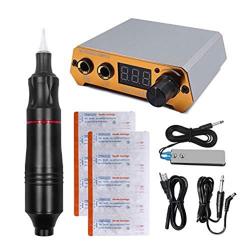 Biomaser CTG003 Tattoo Maschine Professionelle Rotary Tattoo Gerät 4,5 Watt Leistungsstarke Moter Tattoo Pen Maschine Rotary Device Mit Netzteil (Schwarz)