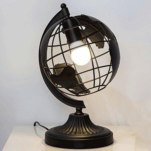 PIAOLING l'europe et la Lampe de Table américaine de Vent, Lampe de Protection LED Simple d'économie d'énergie, lumière de Bureau de Chambre à Coucher (Color : Black)