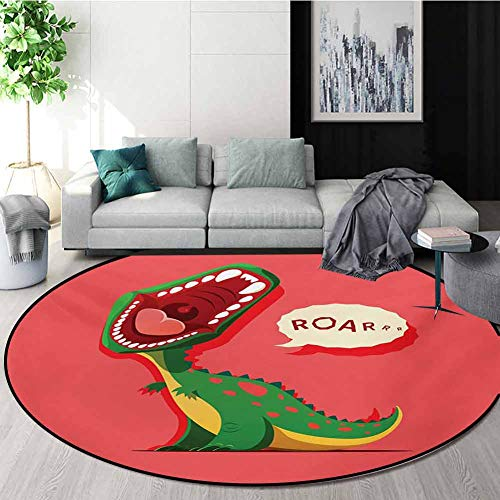 Fantastic Deal! RUGSMAT Dinosaur Modern Washable Round Bath Mat,Aggressive Prehistoric Cartoon Anima...