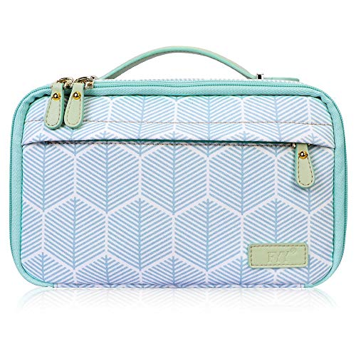 FYY Travel Toiletry Bag for Women and Men, Large Capacity Cosmetic Bag Makeup Toiletries Kit Zippered Organizer Bag with Top Handle Skywave Mint Green