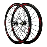 YQQQQ Juego de Ruedas de Bicicleta de Carretera 700C, Doble Pared, Freno en V, Ruedas de Carreras de Ciclismo, Llanta de 40 mm para Velocidades de 7/8/9/10/11 (Color : 700C)