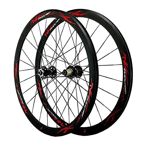 YOOXI Juego de Ruedas de Bicicleta de Carretera 700C, Doble Pared, Freno en V, Ruedas de Carreras de Ciclismo, Llanta de 40 mm para Velocidades de 7/8/9/10/11 (Color : 700C)