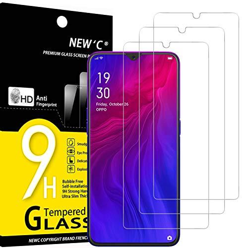 NEW'C Lot de 3, Verre Trempé Compatible avec Oppo Reno Z, Oppo R15X, Film Protection écran sans Bulles d'air Ultra Résistant (0,33mm HD Ultra Transparent) Dureté 9H Glass