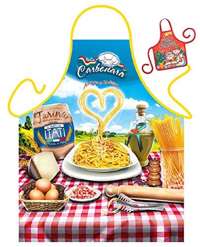 Tini - Shirts Italienische Küche Schürze Kochschürze Nudeln Spaghetti : Spaghetti Carbonara - Weihnachtssgeschenk-Set - Deko Geschenk Flasche Weihnachten