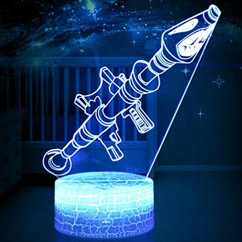 3D LED Luz de Noche, Lanzacohetes Lámpara de Ilusión y 7 Colores Lámpara de Decoración Cambio para Regalo Perfectos para Niño