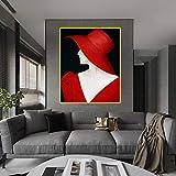 hetingyue Charmante Kunst schwarz rot Kleid Frau Leinwand Bild und Poster Dame Hut Wandkunst Bild für Wohnzimmer Hauptdekoration-rahmenlose Malerei 50x70cm