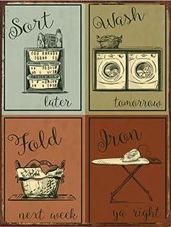 HBA Plaque en métal Humoristique pour décoration d'intérieur, décoration Moderne, buanderie