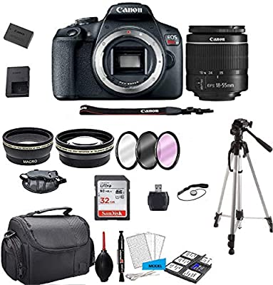 Canon EOS Rebel T7 DSLR Camera with 18-55mm f/3.5-5.6 Zoom Lens + 32GB Card, Tripod, Case, and Model Electronics Kit (International Model) by Canon Intl.