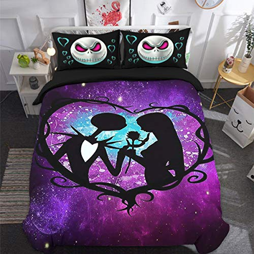 Skull Bedding Set Double Size 3D Nightmare Before Christmas Printed Duvet Cover with Zipper Closure Soft Microfiber Comforte Quilt Cover