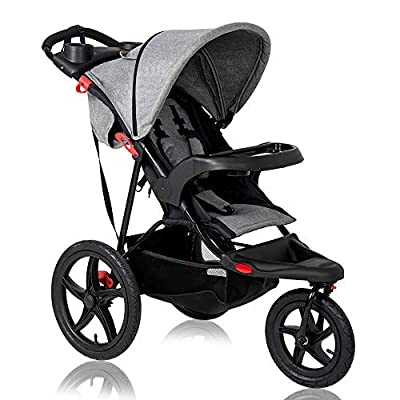 C-Chain Foldable Lightweight Baby Stroller with Jogger Travel System, w/Parental Cup Phone Holder, Extended Canopy, Free Tractive Webbing, Large Storage Basket, Cup Holder (Grey)