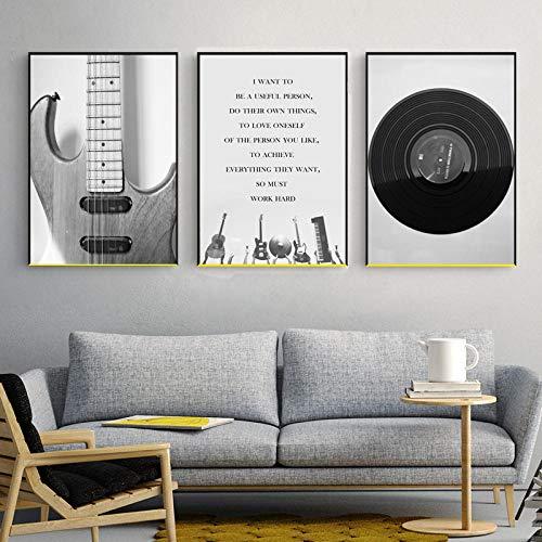 ZCFDXXH Carteles e Impresiones Pintura de Lienzo nórdico Arte de Pared Retro Negro Blanco Guitarra y CD Imagen Musical para la Sala de Estar Decoración del hogar-40x60cmx3 (sin Marco)