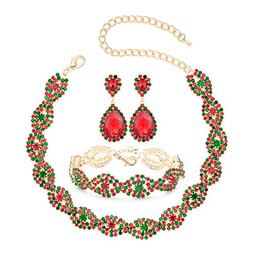 Christmas Jewelry Sets for Women Girls, Thanksgiving Xmas Holiday Jewelry Rhinestone Crystal Choker Necklace Link Bracelet Teardrop Dangle Earrings Set