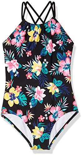Kanu Surf Girls' Jasmine Beach Sport Halter One Piece Swimsuit, Brooke Black, 8