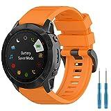 Vozehui Correa de reloj de silicona suave de 26 mm de ancho, compatible con Fenix 6X Sapphire GPS/Garmin Fenix 6X PRO/Fenix 5x puls/Fenix 3 hr/Garmin quaitx3/Garmin d2 bravo
