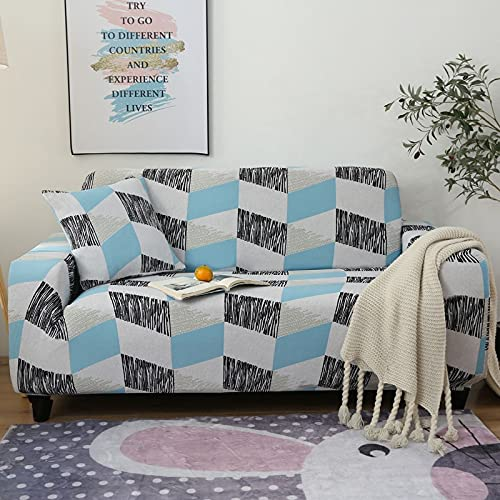 WXQY Fundas geométricas elásticas Fundas de sofá elásticas protección para Mascotas Funda de sofá Esquina en Forma de L Funda de sofá Antideslizante A13 2 plazas