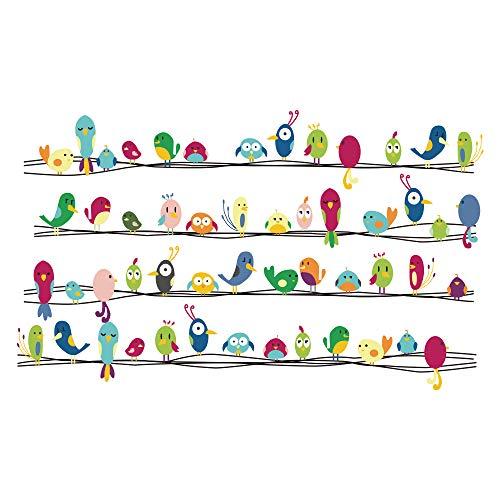 decalmile Uccelli Animali Adesivi da Parete Removibile Vinile Stickers Murali Decorazioni Pareti per Bambini Cameretta Soggiorno Ufficio Camera da Letto