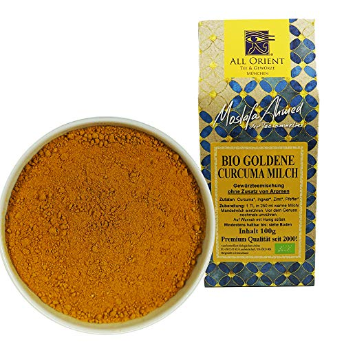All Orient BIO Goldene Curcuma Milch | 100g | Orientalische Teemischung | Ohne Zusatz von Aromen | Gewürztee lose | ayurvedische Teemischung | Naturbelassen | Vegan