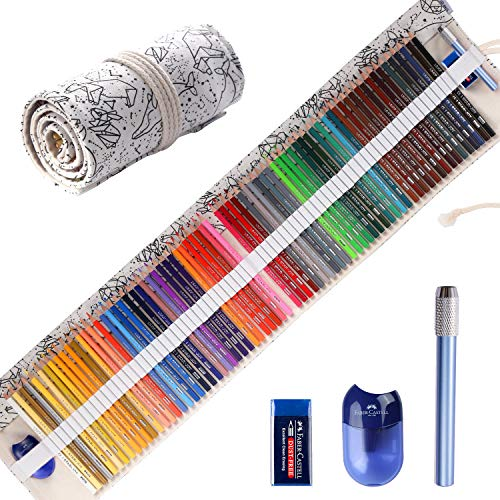 Colored Pencils for Adult Coloring Books, Premium Artist Colored Pencil Set (72-Count), Handmade Canvas Pencil Wrap, Extra Accessories Included, Holiday Gift, Oil based Colored Pencils