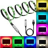 PESCA USB 5V 5050 RGB LED Flexible Strip Light Multi-Color Changing Lighting Kit, TV Background Lighting with Mini Controller for TV PC Laptop Bias Lighting (3 Meter for 40-49' TV's)