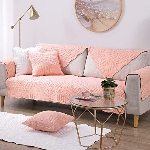 WPQBS Sofa hoes,Sofa Kussenhoes Vier Seizoenen Universele Katoen Couch Cover Antislip Sofa Hoesjes Voor Woonkamer Hoekbanken Handdoek, Roze, W90xL160cm 1pcs