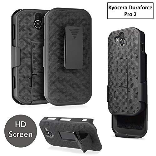Kyocera Duraforce Pro 2 Case, Customerfirst Slim Shell Swivel Hybrid Holster Defender Combo Cover with Belt Clip + Kickstand for Kyocera Duraforce Pro 2 [E6910, E6900] + Screen Glass Protector